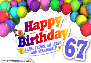 Bunte Geburtstagskarte mit Ballons zum 67. Geburtstag