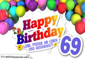 Bunte Geburtstagskarte mit Ballons zum 69. Geburtstag