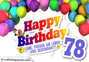 Bunte Geburtstagskarte mit Ballons zum 78. Geburtstag