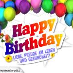 Bunte Geburtstagskarte mit Ballons zum Geburtstag