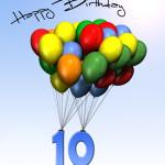 Bunte Geburtstagskarte mit Luftballons zum 10. Geburtstag