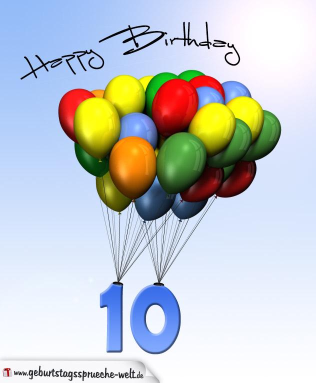 Geburtstagskarte mit luftballons zum 10 geburtstag geburtstagsspr che welt - Geburtstagskarte 25 geburtstag ...