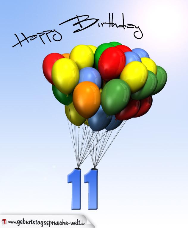 Geburtstagskarte mit Luftballons zum 11. Geburtstag
