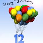 Bunte Geburtstagskarte mit Luftballons zum 12. Geburtstag