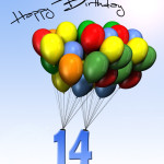 Bunte Geburtstagskarte mit Luftballons zum 14. Geburtstag