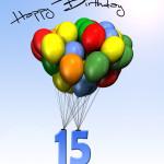 Bunte Geburtstagskarte mit Luftballons zum 15. Geburtstag