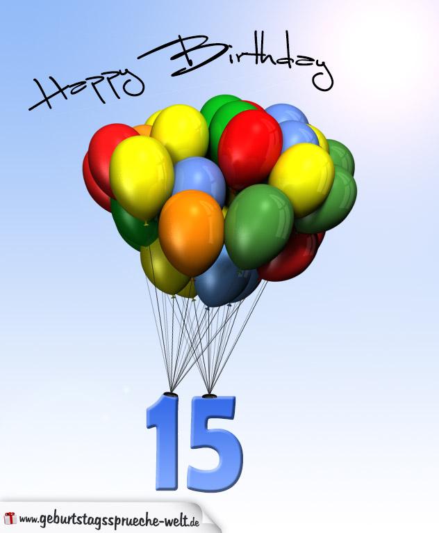 geburtstagskarte mit luftballons zum 15 geburtstag. Black Bedroom Furniture Sets. Home Design Ideas