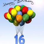 Bunte Geburtstagskarte mit Luftballons zum 16. Geburtstag