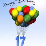 Bunte Geburtstagskarte mit Luftballons zum 17. Geburtstag