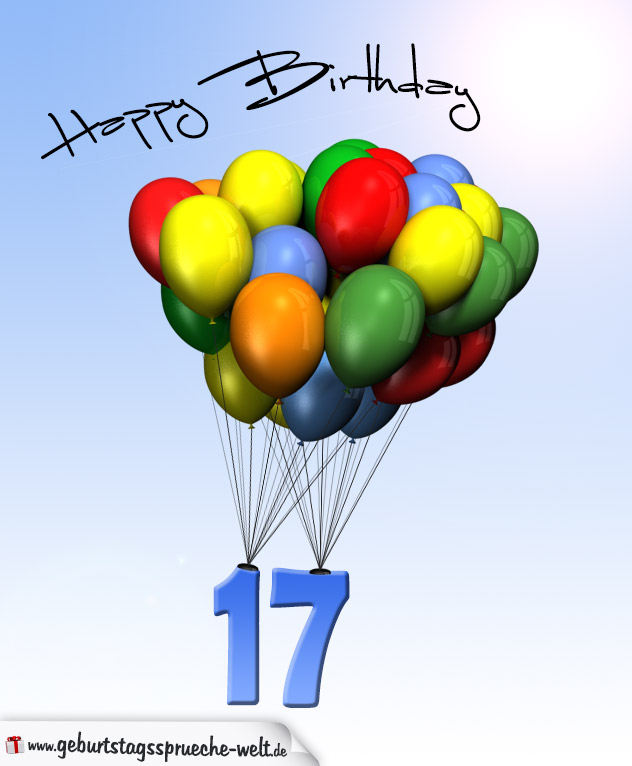 geburtstagskarte mit luftballons zum 17. geburtstag