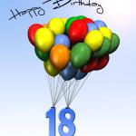 Bunte Geburtstagskarte mit Luftballons zum 18. Geburtstag
