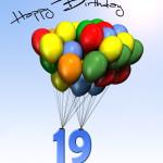 Bunte Geburtstagskarte mit Luftballons zum 19. Geburtstag