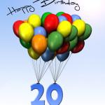 Bunte Geburtstagskarte mit Luftballons zum 20. Geburtstag