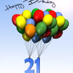 Bunte Geburtstagskarte mit Luftballons zum 21. Geburtstag