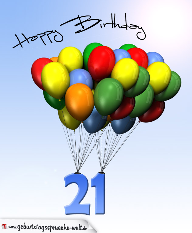 geburtstagskarte mit luftballons zum 21. geburtstag