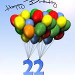 Bunte Geburtstagskarte mit Luftballons zum 22. Geburtstag