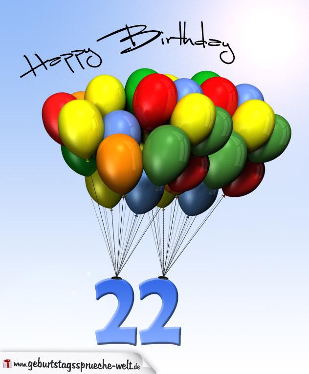 Geburtstagskarte mit Luftballons zum 22. Geburtstag - Geburtstagssprüche-Welt
