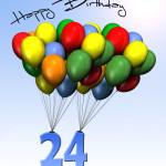 Bunte Geburtstagskarte mit Luftballons zum 24. Geburtstag