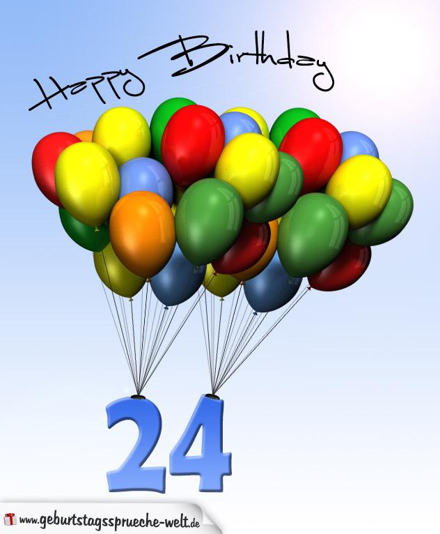 geburtstagskarte mit luftballons zum 24 geburtstag geburtstagsspr che welt. Black Bedroom Furniture Sets. Home Design Ideas