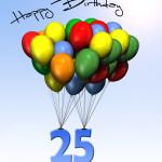 Bunte Geburtstagskarte mit Luftballons zum 25. Geburtstag