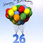 Bunte Geburtstagskarte mit Luftballons zum 26. Geburtstag