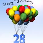 Bunte Geburtstagskarte mit Luftballons zum 28. Geburtstag
