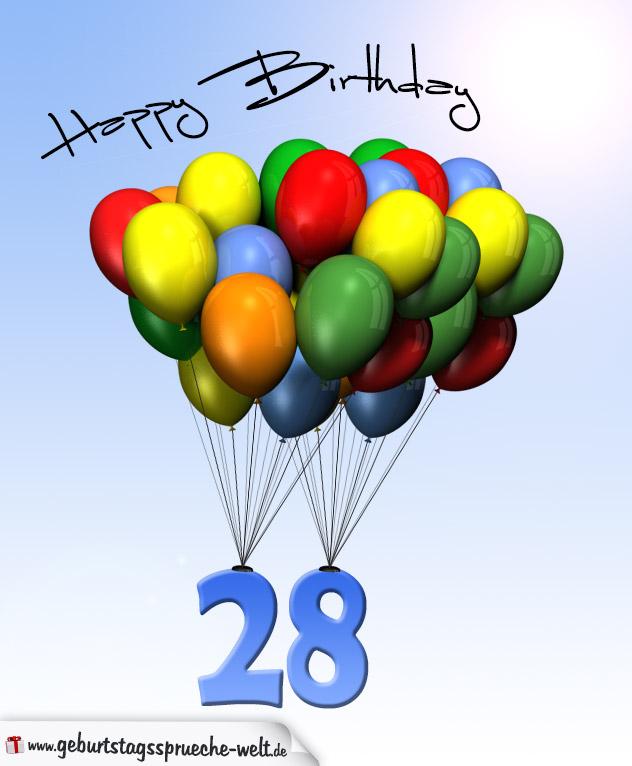 Geburtstagskarte mit Luftballons zum 28. Geburtstag