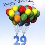 Bunte Geburtstagskarte mit Luftballons zum 29. Geburtstag