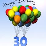 Bunte Geburtstagskarte mit Luftballons zum 30. Geburtstag