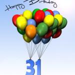 Bunte Geburtstagskarte mit Luftballons zum 31. Geburtstag