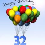 Bunte Geburtstagskarte mit Luftballons zum 32. Geburtstag
