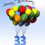 Bunte Geburtstagskarte mit Luftballons zum 33. Geburtstag