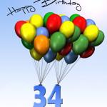 Bunte Geburtstagskarte mit Luftballons zum 34. Geburtstag