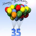 Bunte Geburtstagskarte mit Luftballons zum 35. Geburtstag