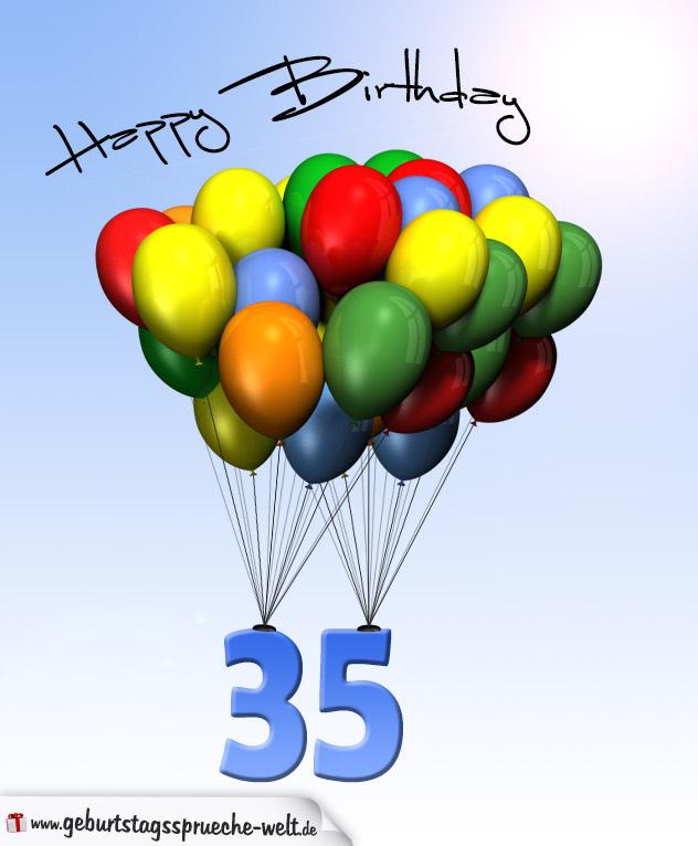 Geburtstagskarte mit Luftballons zum 35. Geburtstag - Geburtstagssprüche-Welt