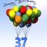 Bunte Geburtstagskarte mit Luftballons zum 37. Geburtstag