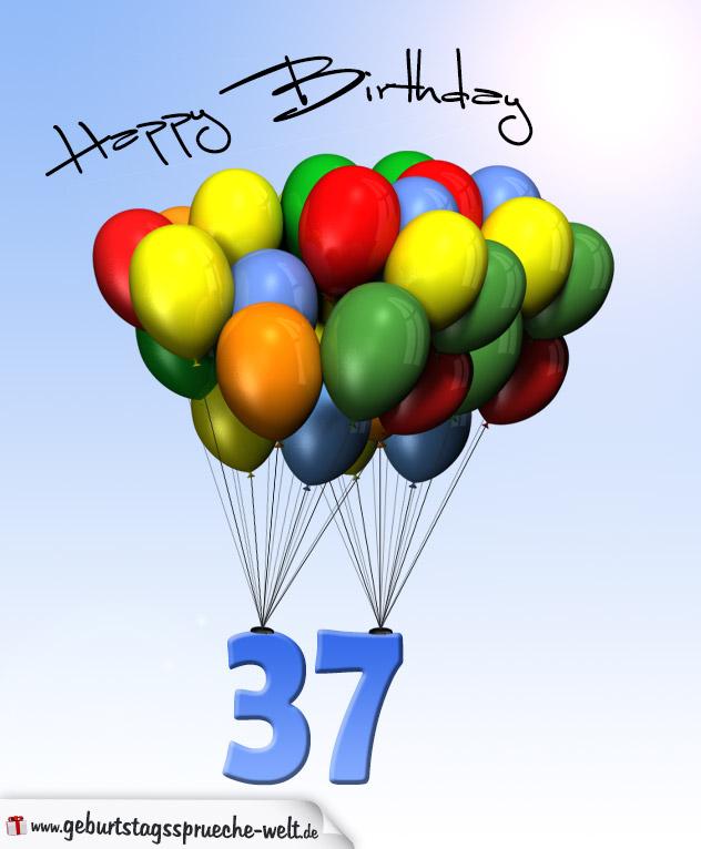 Geburtstagskarte mit luftballons zum 37 geburtstag for Geburtstagskarte 25 geburtstag