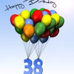 Bunte Geburtstagskarte mit Luftballons zum 38. Geburtstag