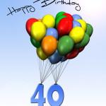 Bunte Geburtstagskarte mit Luftballons zum 40. Geburtstag