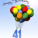Bunte Geburtstagskarte mit Luftballons zum 41. Geburtstag