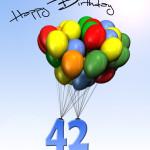 Bunte Geburtstagskarte mit Luftballons zum 42. Geburtstag