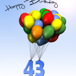 Bunte Geburtstagskarte mit Luftballons zum 43. Geburtstag