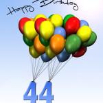 Bunte Geburtstagskarte mit Luftballons zum 44. Geburtstag