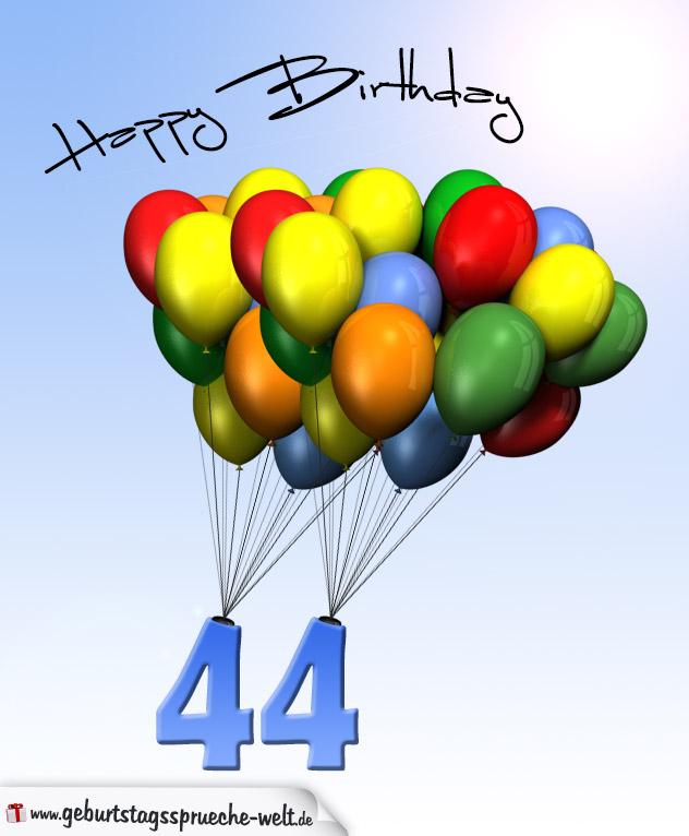 Geburtstagskarte mit Luftballons zum 44. Geburtstag