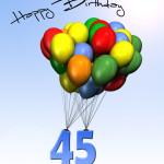 Bunte Geburtstagskarte mit Luftballons zum 45. Geburtstag