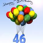 Bunte Geburtstagskarte mit Luftballons zum 46. Geburtstag