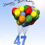 Bunte Geburtstagskarte mit Luftballons zum 47. Geburtstag