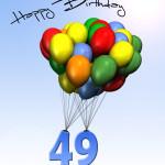 Bunte Geburtstagskarte mit Luftballons zum 49. Geburtstag