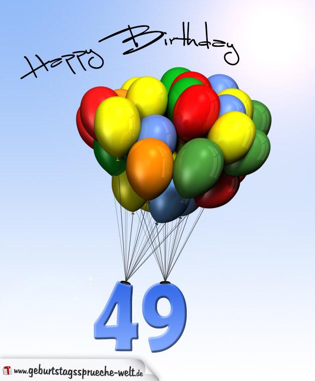 geburtstagskarte mit luftballons zum 49 geburtstag. Black Bedroom Furniture Sets. Home Design Ideas