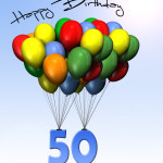 Bunte Geburtstagskarte mit Luftballons zum 50. Geburtstag